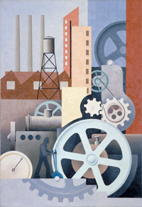 "Paul Kelpe ""Machinery (Abstract #2),"" 1933-1934, oil on canvas"