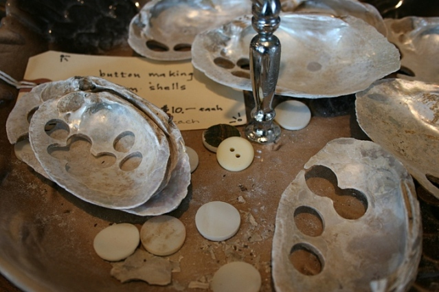 Clamshells with pearl buttons cut out