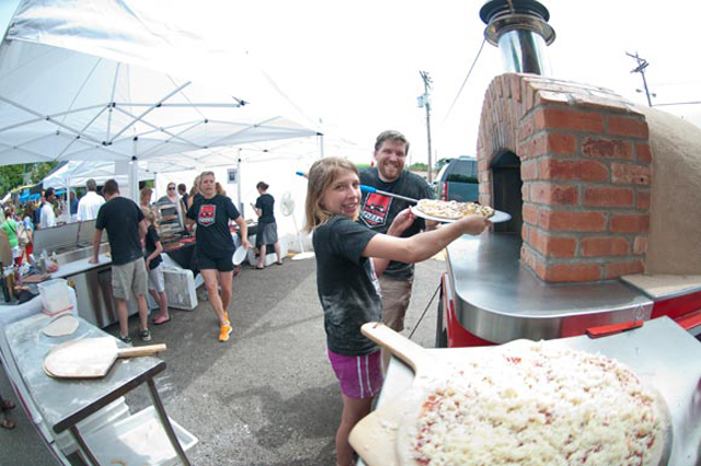 Prepared food: Red Wagon Pizza's Peter Campbell with his niece, Quinn