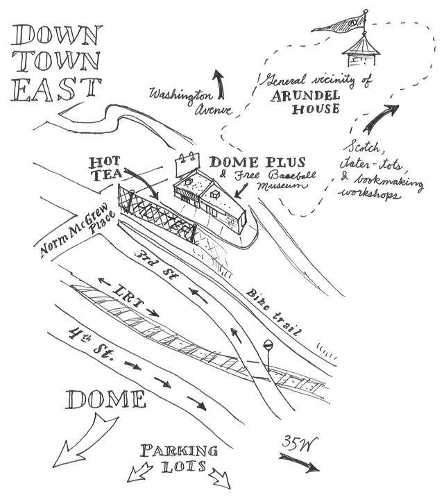 hand drawn map of metrodome east neighborhood