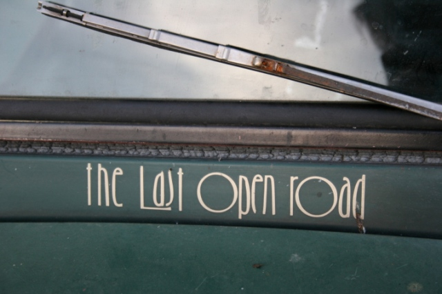 These words, the title of a book by Bert Levee, are imprinted below the windshield.