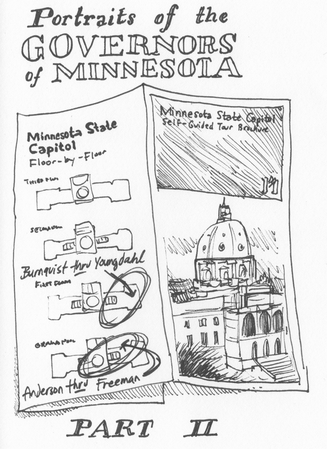 Hand drawn map of portraits at the Minnesota state capitol