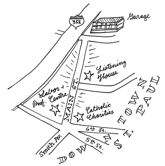 hand-drawn map of main st saint paul