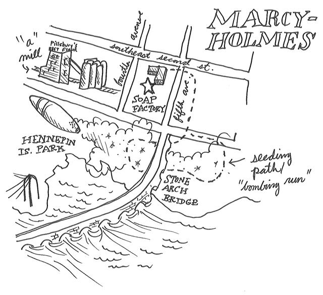 Map of Marcy Holmes neighborhood