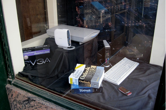 window display of office equipment from the 90s