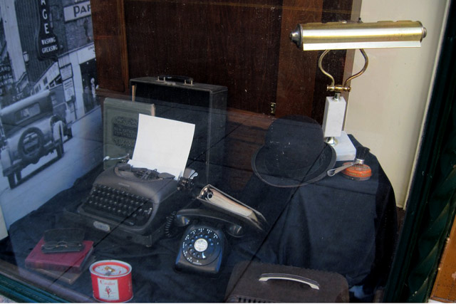 window display of old office equipment