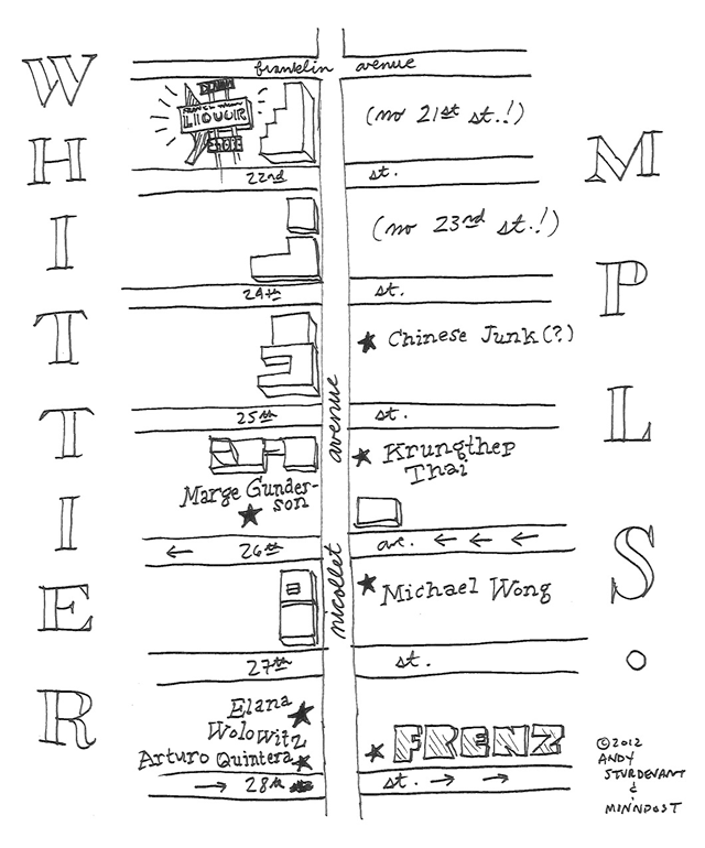 Hand drawn map of Nicollet Ave in Whittier