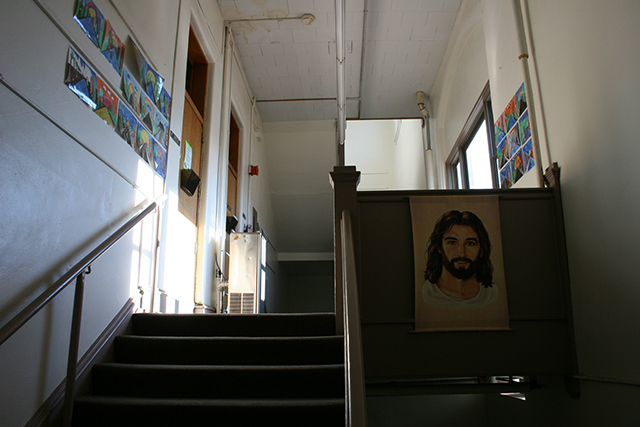 Art adorns walls in the hallways of Faribault Lutheran School.