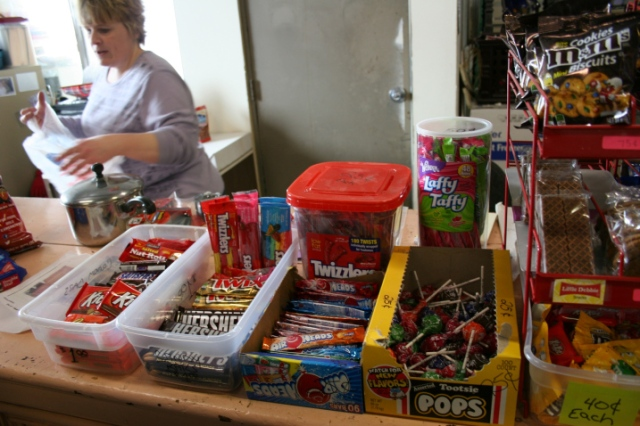 Like the old-fashioned general store, Bernadette has set up candy display, including my favorite Tootsie Pops.