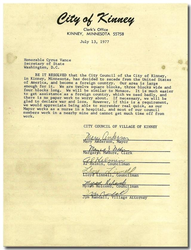 letter from kinney city council to cyrus vance