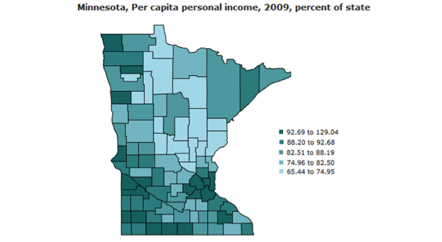 Per capita personal income by county as a percentage of state average income, 2009.
