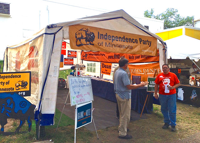 Independence Party booth, on Dan Patch, near Underwood.