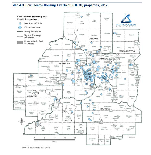 map of low income tax credits in the MSP metro area