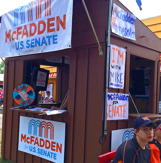 Republican Senate candidate Mike McFadden's booth