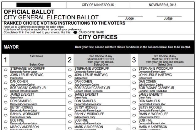 2013 Minneapolis sample ballot