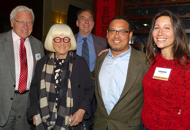Sam and Sylvia Kaplan, Rob Cowle, Rep. Keith Ellison and Andrea Stern