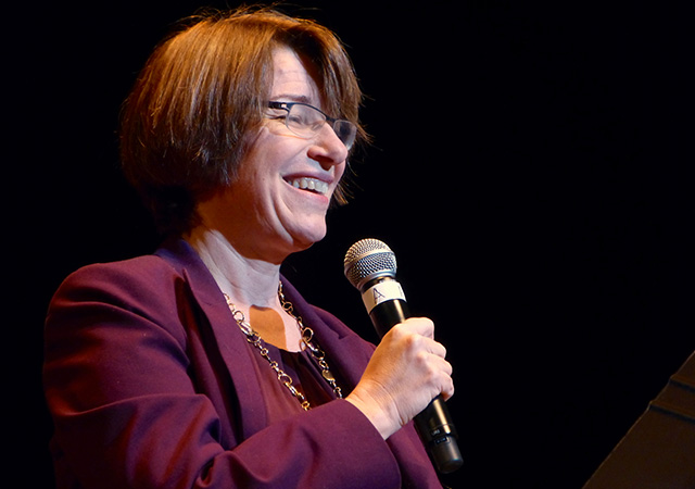 Sen. Amy Klobuchar sharing her favorite MinnPost headlines