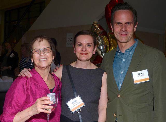 MinnPost co-founder Laurie Kramer, mental health reporter Andy Steiner and John