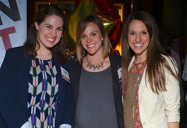 MinnPost development director Claire Radomski, MinnRoast volunteer Nora Fox and