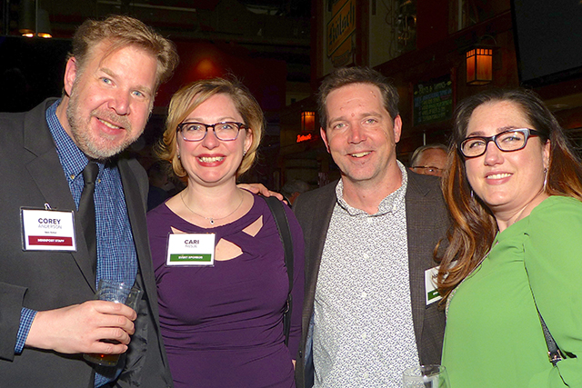 Corey Anderson, event sponsors Cari and Nathan Nesje, and Kippy Freund