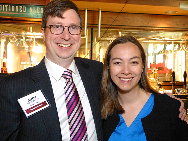 MinnPost publisher and CEO Andrew Wallmeyer and Kweilin Ellingrud