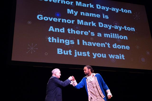 "Gov. Mark Dayton and DJ/FRND fist-bump at the end of ""Alexander Hamilton"""