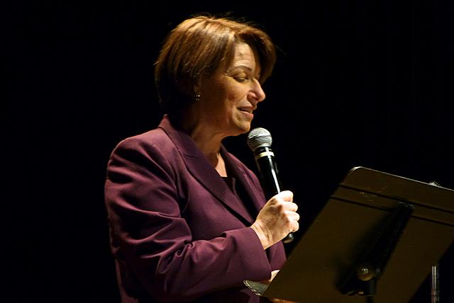 Sen. Amy Klobuchar delivering her monologue