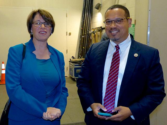 Sen. Amy Klobuchar and Rep. Keith Ellison backstage
