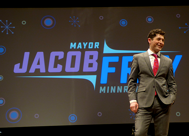 Minneapolis Mayor Jacob Frey setting up his song