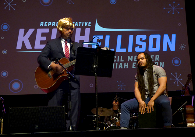 Rep. Keith Ellison performing a parody with his son